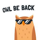 Funny cartoon owl with sunglasses