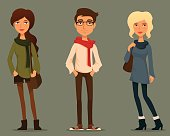 funny cartoon people in hipster fashion