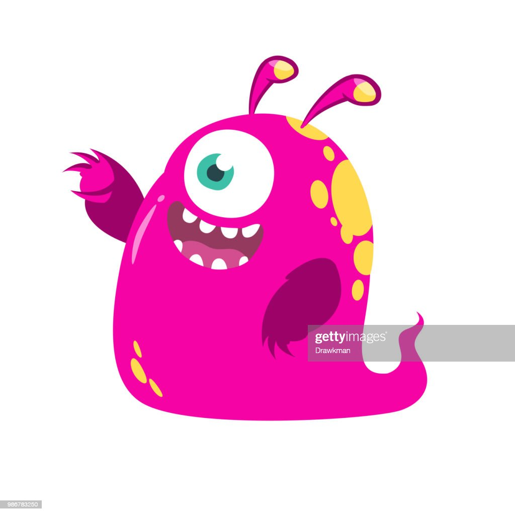 Funny cartoon pink one-eyed monster. Vector illustration isolated. Halloween design