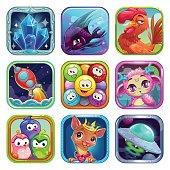 Funny cartoon square app icons