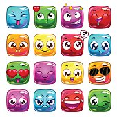 Funny cartoon square jelly characters