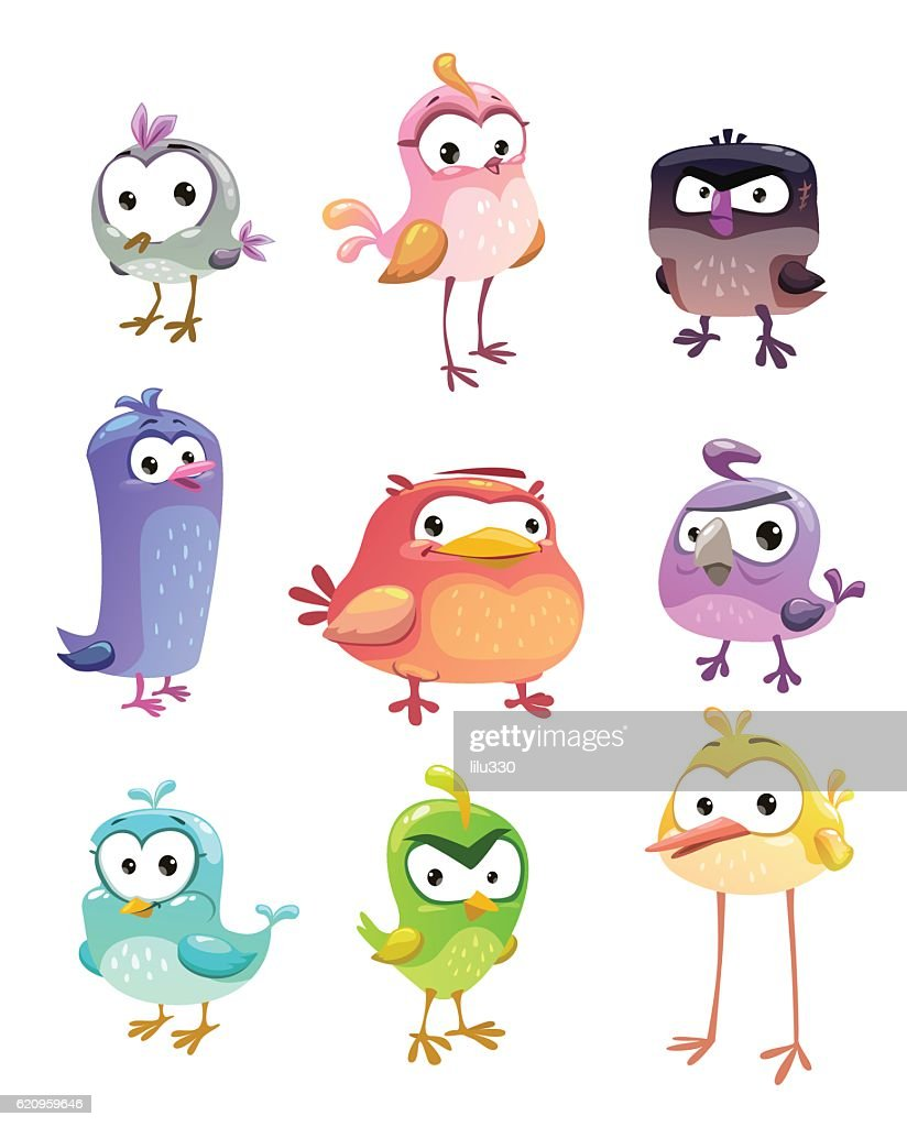 Funny cartoon standing birds set