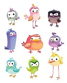 Funny cartoon standing birds set