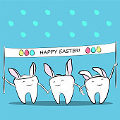 Funny cartoon teeth with a banner in hands and ears Easter bunny. Vector illustration for dentistry.