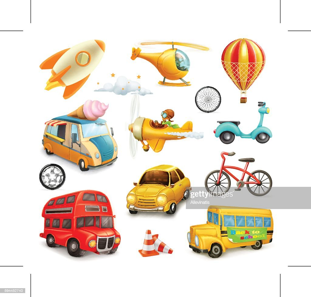 Funny cartoon transportation, cars and airplanes set of vector icons