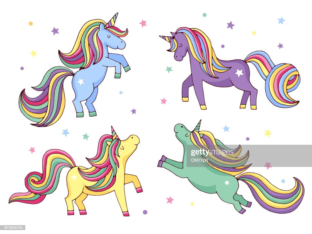 Funny cartoon unicorn. Vector illustrations set isolate on white background