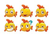 Funny cartoon yellow fish with different emotions