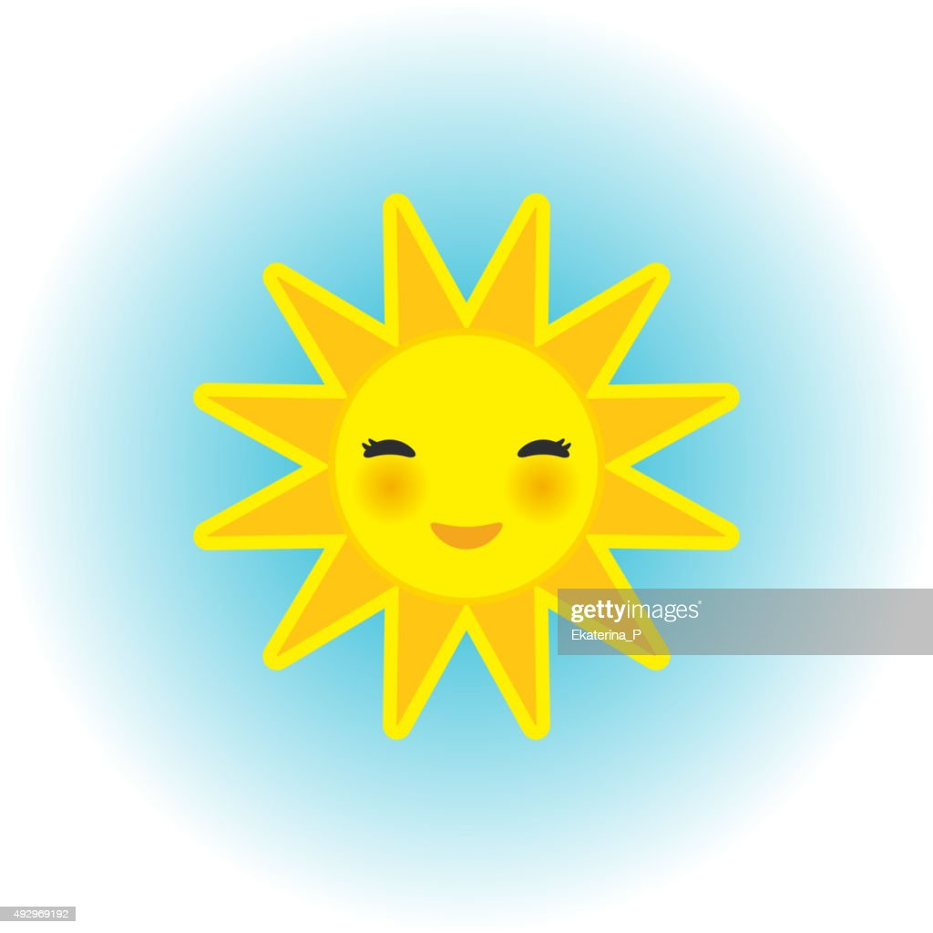 funny cartoon yellow sun smiling with closed eyes  blue background.