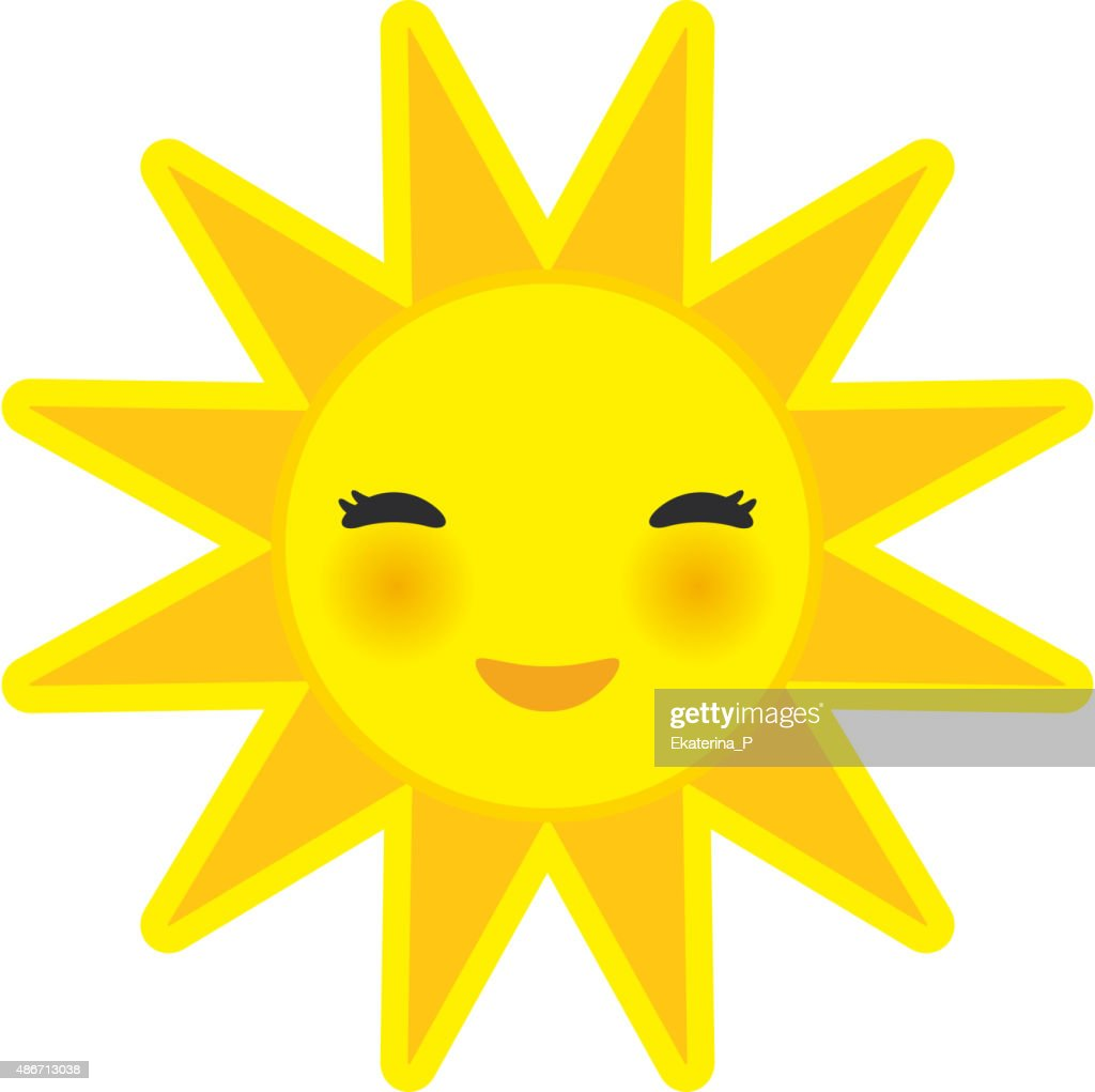 funny cartoon yellow sun smiling with closed eyes pink cheeks