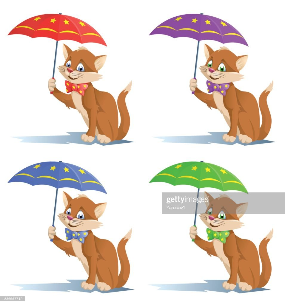 Funny cat in a bow tie with umbrella.