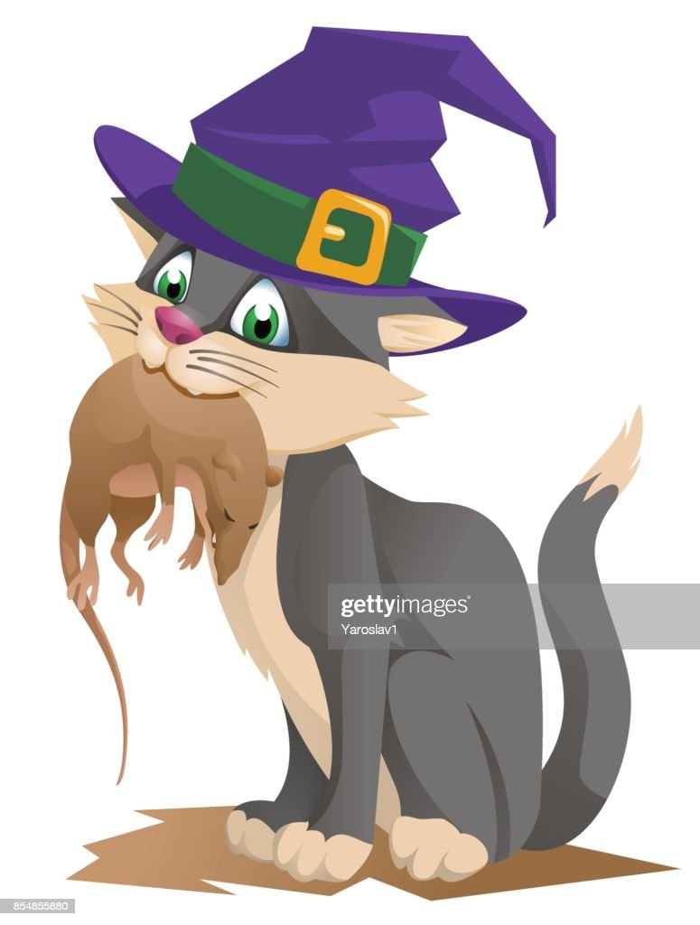 Funny cat in a halloween hat holding rat. Happy Halloween! Cartoon styled vector illustration.