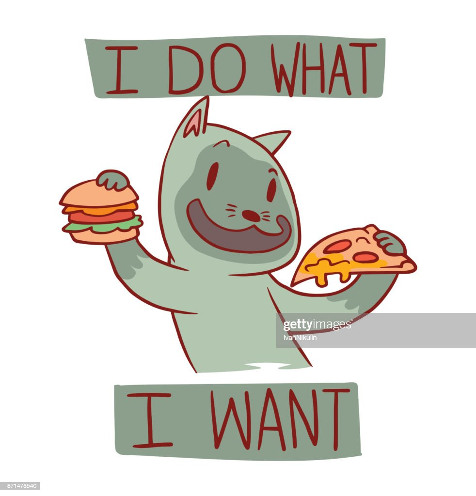 Funny cat with hamburger and slice of pizza, color image