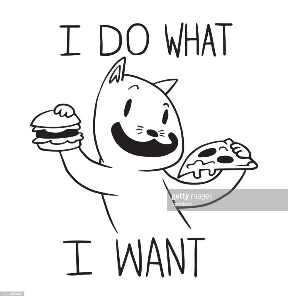 Funny cat with hamburger and slice of pizza, line art