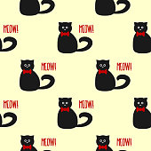 Funny cat with round eyes and a bow. Text Meow! Seamless pattern.