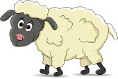 funny catoon sheep standing