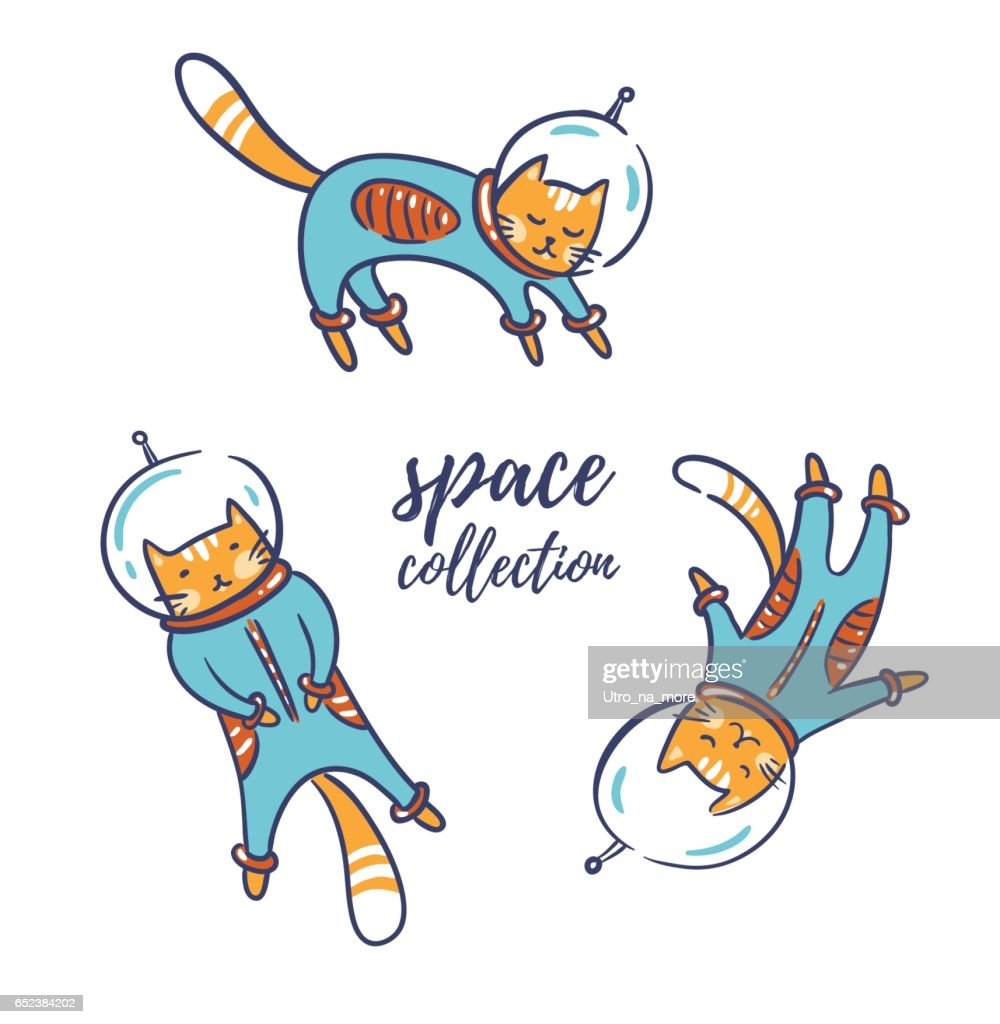 Funny cats astronauts in space isolated on white, vector illustration. : stock vector