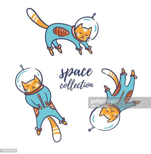 Funny cats astronauts in space isolated on white, vector illustration.