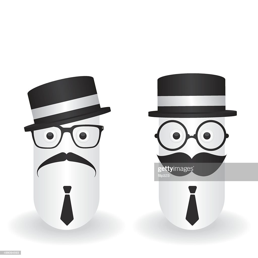 Funny character hipster and gentleman