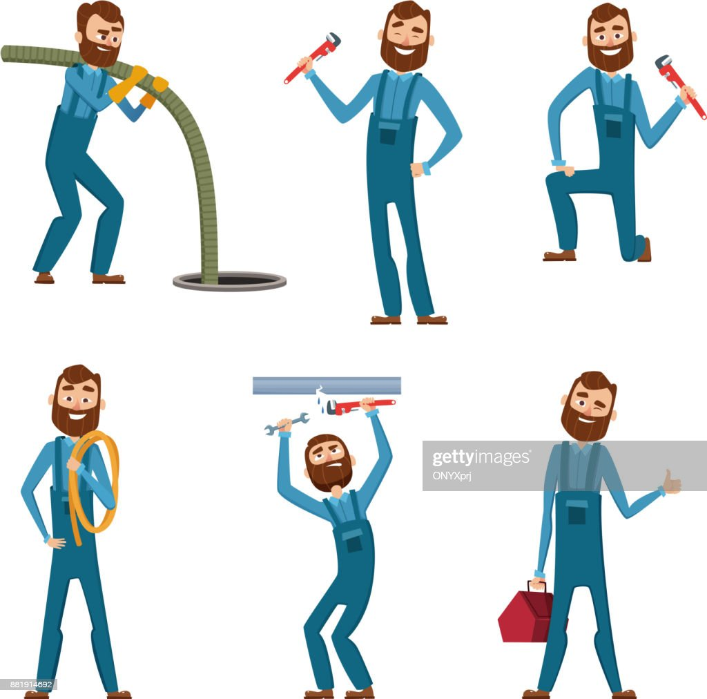Funny character of repairman or plumber in different poses. Vector mascot design