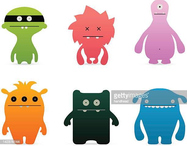 ilustraciones, imágenes clip art, dibujos animados e iconos de stock de juego/monstruos divertidos caracteres - monstruo