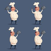 Funny chef, cute character. Vector cartoon illustration