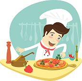 Funny chef decorating pizza dish in the kitchen