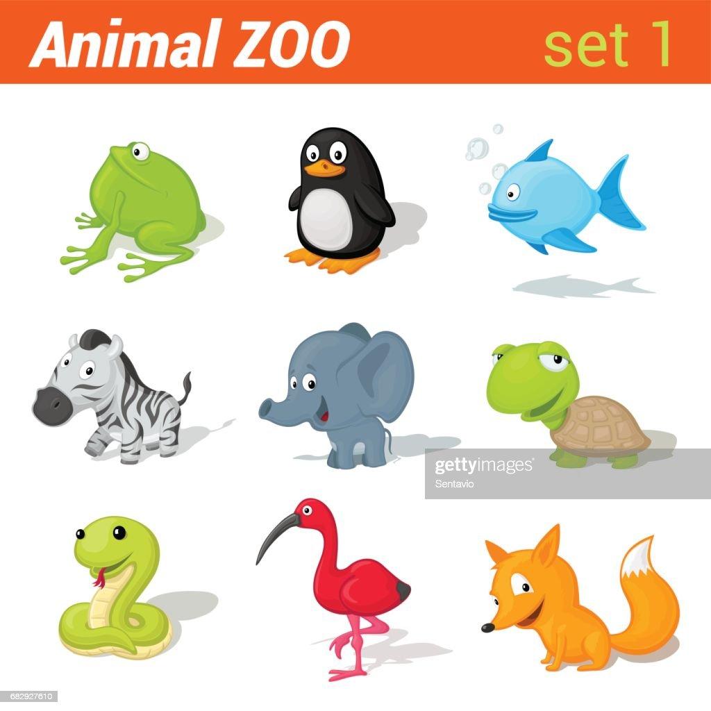 Funny children animals icon set. Kid language learning elements. Frog, penguin, fish, zebra, elephant, turtle, snake, ibis bird, fox.  Animal Zoo collection.