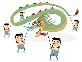 funny chinese dragon parade illustration