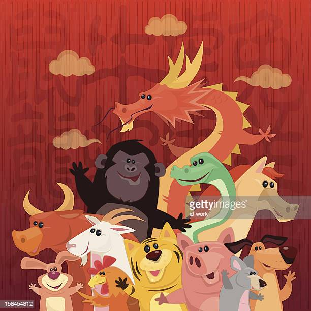 funny chinese horoscope animals - chinese zodiac sign stock illustrations, clip art, cartoons, & icons