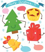 Funny Christmas Characters Set with Banner