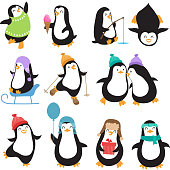Funny christmas penguins vector characters