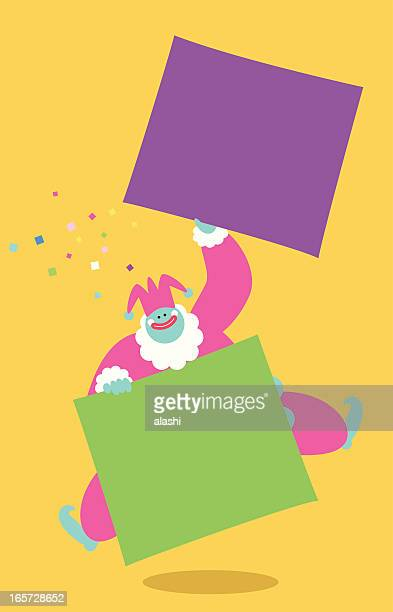 funny clown holding sign - jester's hat stock illustrations, clip art, cartoons, & icons