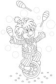 Funny clown juggler and equilibrist