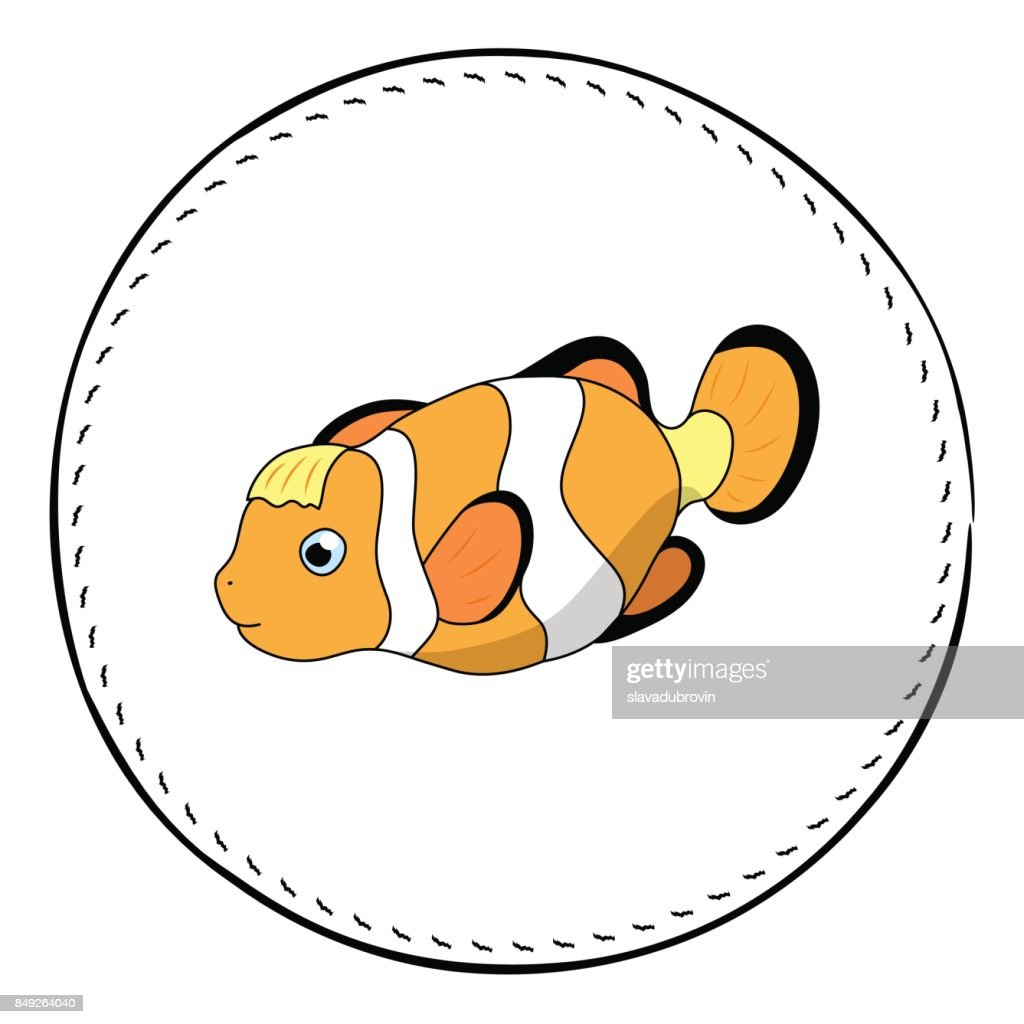 Funny clownfish isolated on white background. Coral fish Clown cartoon vector illustration.