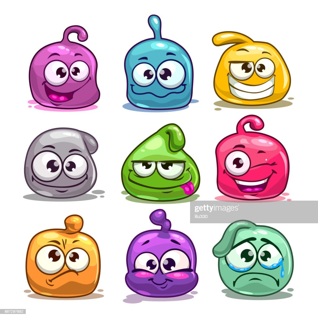 Funny colorful blob characters