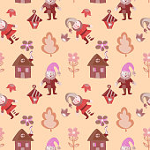 Funny colorful gnome wirh house, lantern,flowers seamless pattern for kids