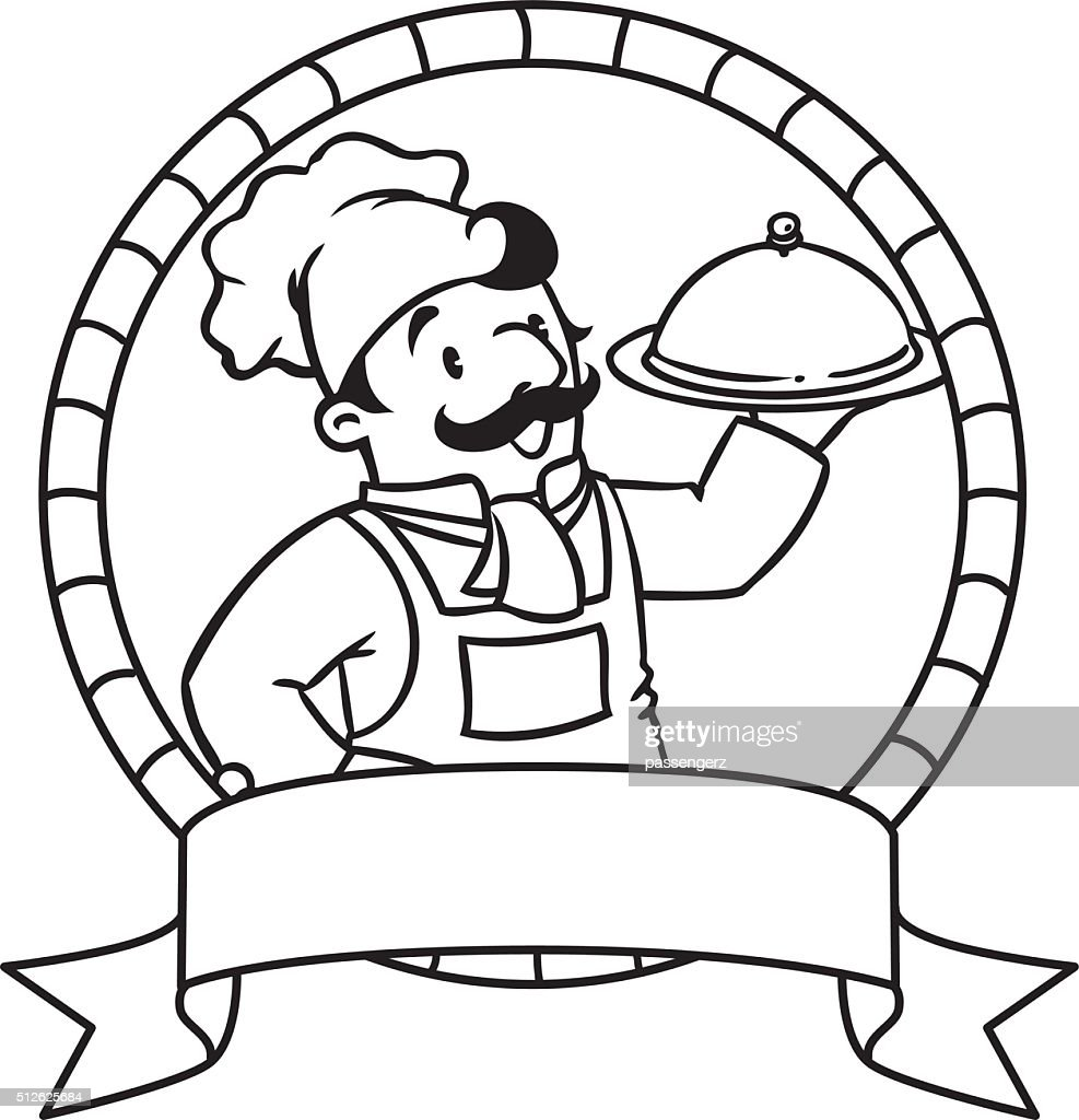 Funny cook or chef. Coloring book. Emblem