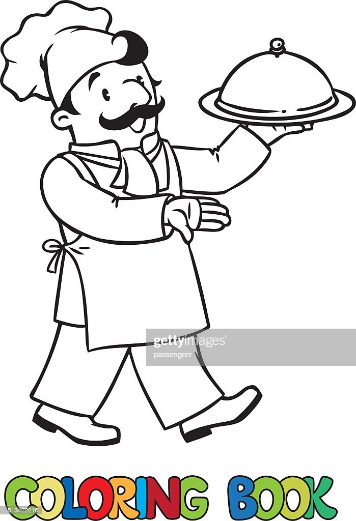 Funny cook or chef with tray. Coloring book