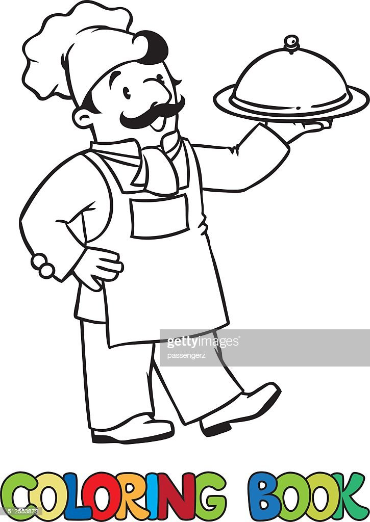 Funny cook or chief with tray. Coloring book
