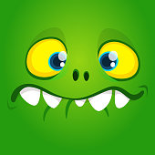 Funny cool cartoon gremlin face. Vector Halloween green monster character