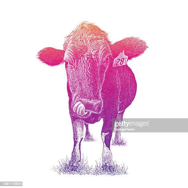 変な牛舌を突き出て - 動物の舌点のイラスト素材/クリップアート素材/マンガ素材/アイコン素材
