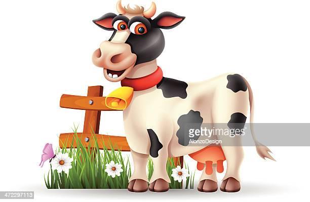 ilustraciones, imágenes clip art, dibujos animados e iconos de stock de funny vaca - vacas