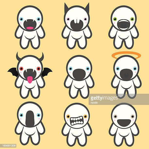 Funny crazy white monsters