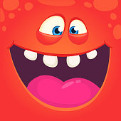 Funny cute cartoon monster face. Vector Halloween  red monster with wide mouth laughing