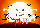 Funny cute cartoon tooth character. witch, devil, mummy and bat in moon night,
