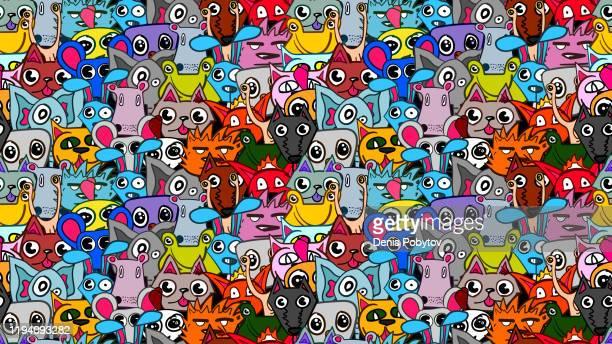 illustrations, cliparts, dessins animés et icônes de illustration sans couture mignonne de vecteur de dessin animé drôle - animaux. - chat humour