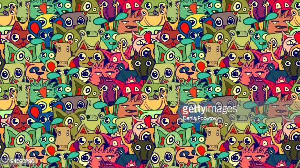 illustrations, cliparts, dessins animés et icônes de illustration sans couture mignonne de vecteur de dessin animé drôle - animaux. - limace