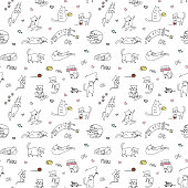 Funny cute cats seamless pattern,hand drawn background,