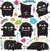 Funny Cute Little Black Monster Holiday Clip Art Collection