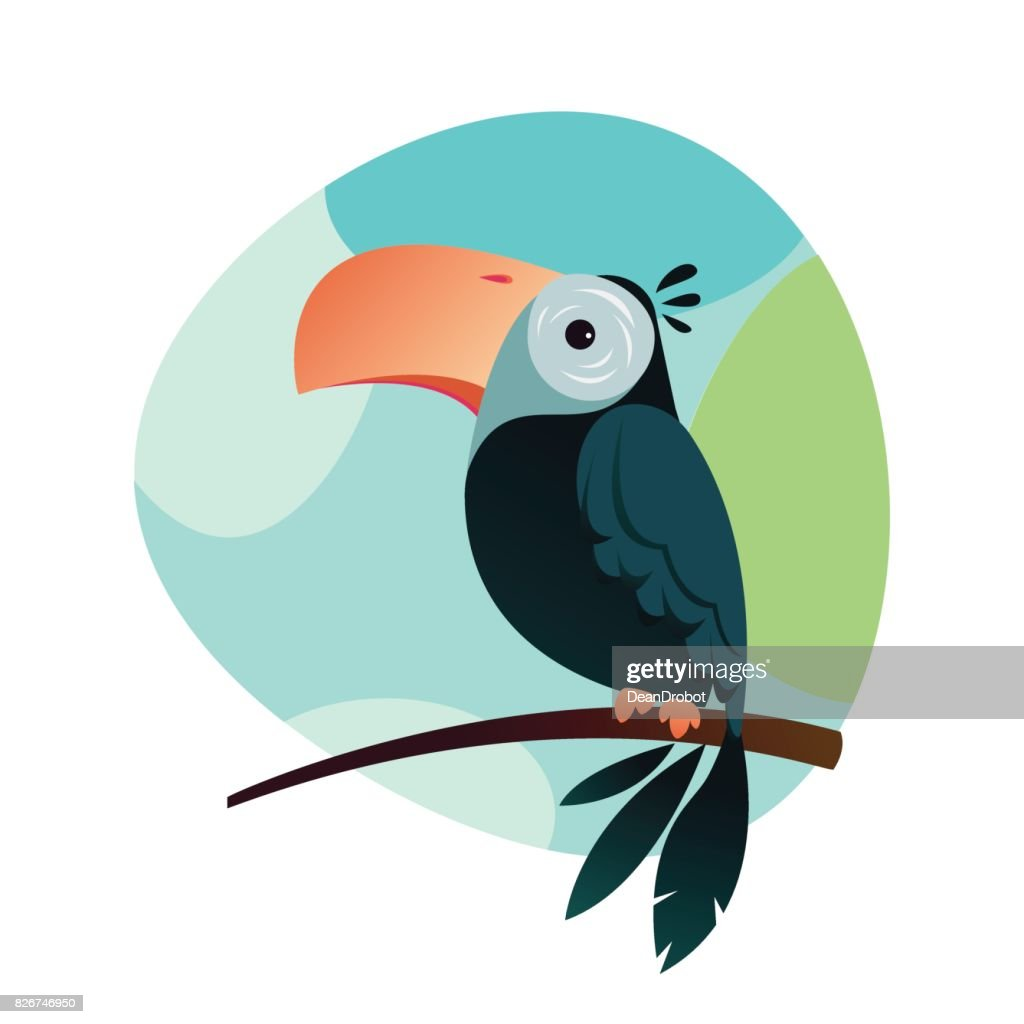 Funny cute toucan icon in flat style. Vector illustration